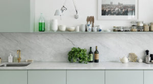 Mint green and marble kitchen